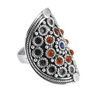 Round Lapis Lazuli & Carnelian, Handmade Jewelry Manufacturer 925 Sterling Silver, Long  Ring Jaipur Rajasthan India