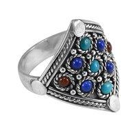 Handmade Jewelry Manufacturer- 925 Sterling Silver, Lapis Lazuli, Carnelian & Turquoise Ring Jaipur Rajasthan India