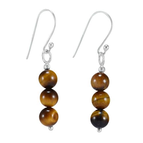 3 Stone Set Tiger Eye, Handmade Jewelry Manufacturer 925 Sterling Silver, Dangle Earring Jaipur Rajasthan India