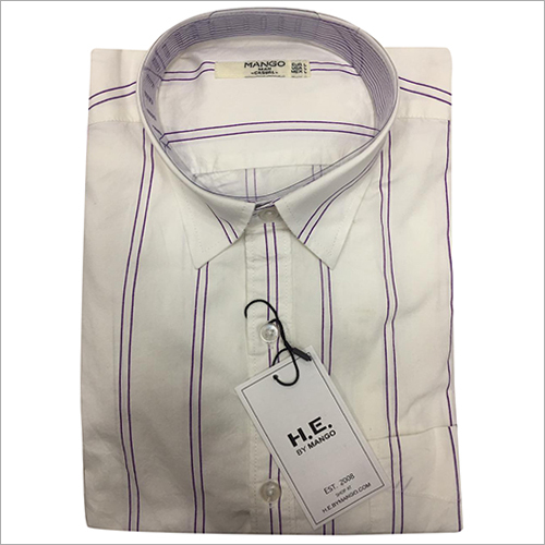 Mens Linen Casual Striped Shirt