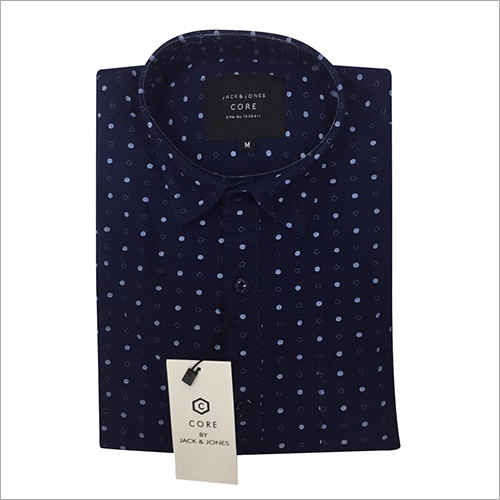 Mens Blue Dotted Shirt