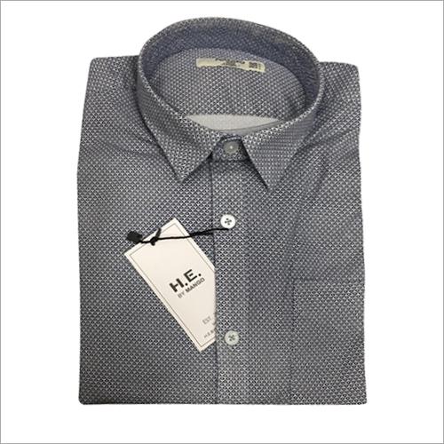 Mens Grey Dotted Shirt