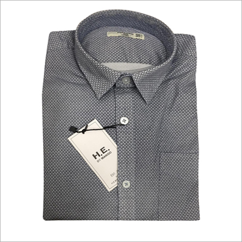 Mens Grey Dotted Shirt