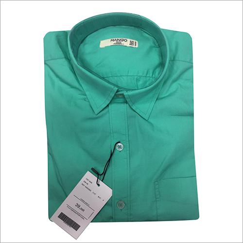 Mens Green Plain Shirt