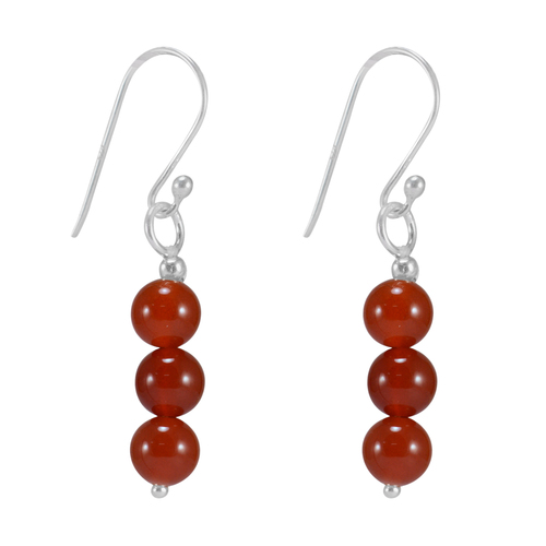 Jaipur Rajasthan India 925 Sterling Silver, Round Beads Carnelian, Fish-hook Dangle Earring Handmade Jewelry Manufacturer