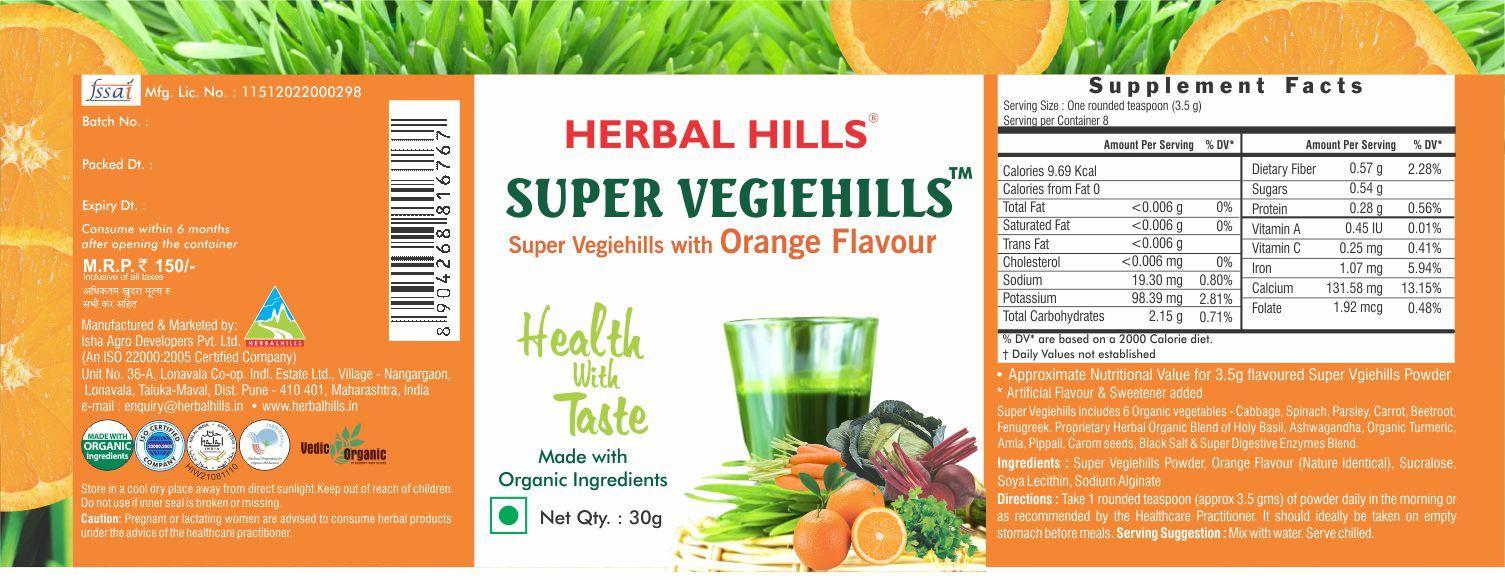 Super Vegetable powder - Vegiehills orange 30gm powder