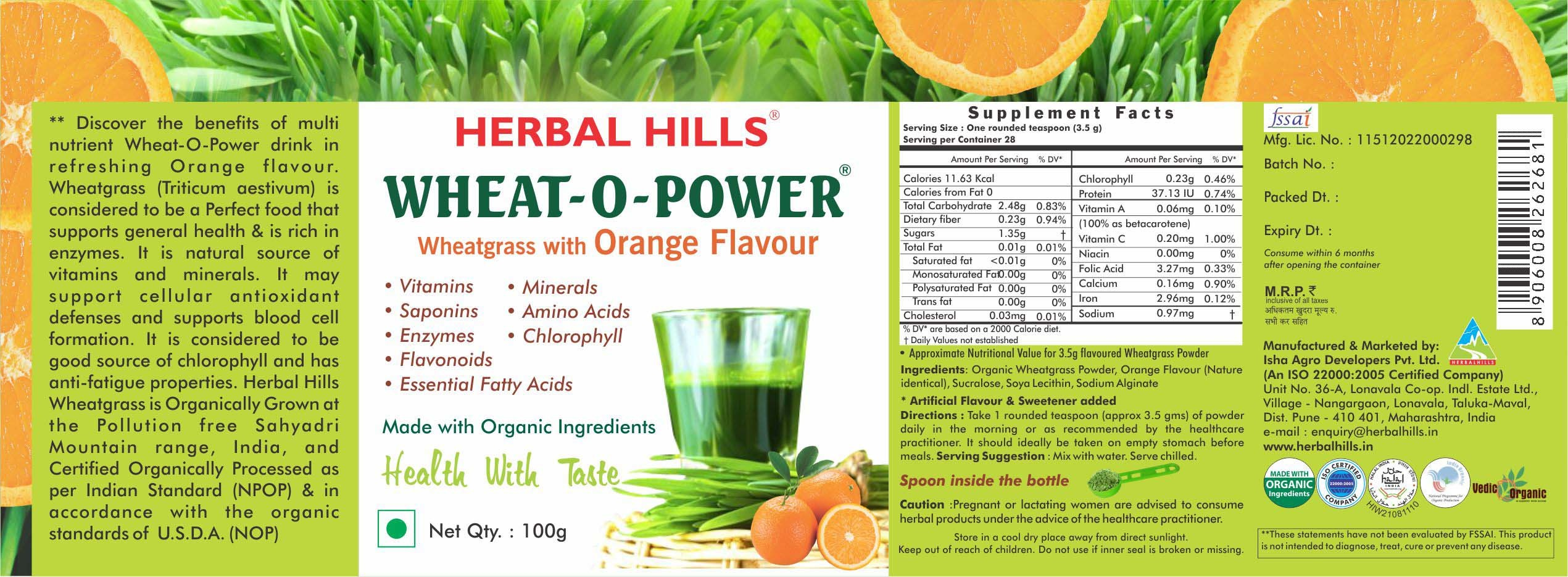 Wheatgrass orange powder - immunity & Blood Purification