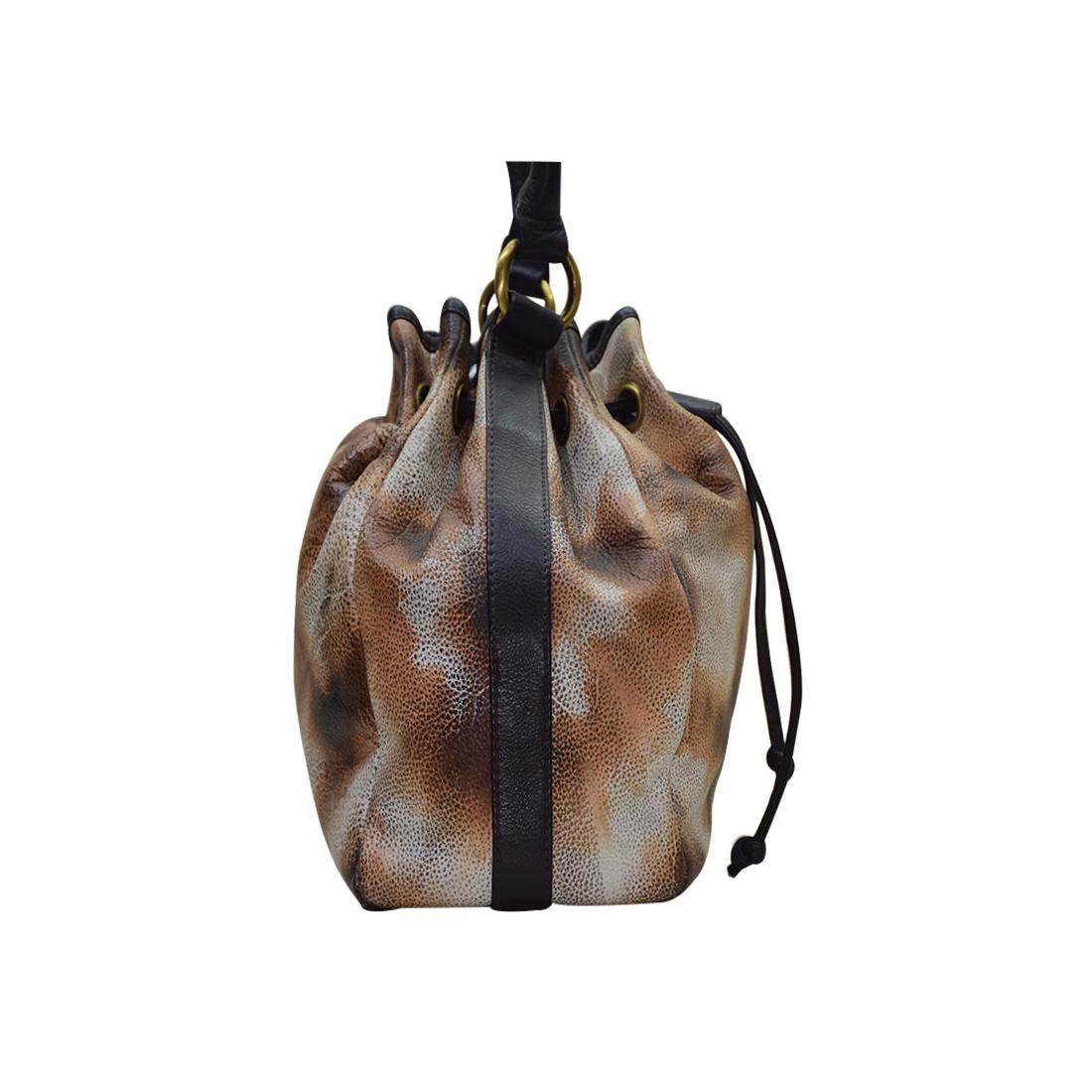Leather Tie & Die Hand Bag