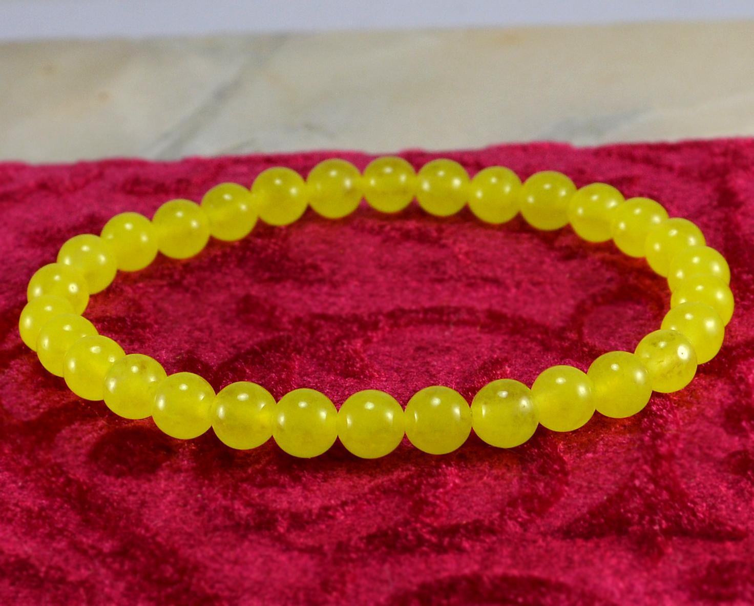 Round Beaded Yellow Quartz Handmade Jewelry Manufacturer Layering, 6mm Round, Healing Bracelet Jaipur Rajasthan India