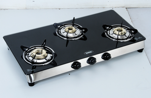 3 Burner Black Marble Top LPG Gas Stoves