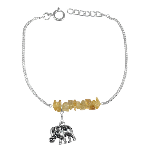 Raw Citrine Bracelet, 925 Sterling Silver, November Birthstone, Elephant Charm Chain Bracelet