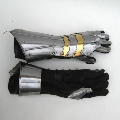 Gauntlet Gloves Armor Pair with Brass Accents