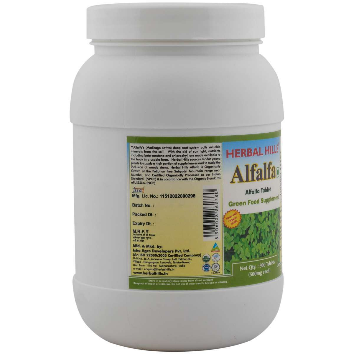 Organic Alfalfa 900 Tablets Value Pack - Weight loss & Blood Circulation