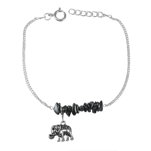 Jaipur Rajasthan India Raw Hematite 925 Sterling Silver Curb-chain With Spring-ring Hook Bracelet Handmade Jewelry Manufacturer
