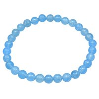 Round Beaded Handmade Jewelry Manufacturer 6mm Light Blue Quartz, Stretchable Jaipur Rajasthan India Calming Bracelet