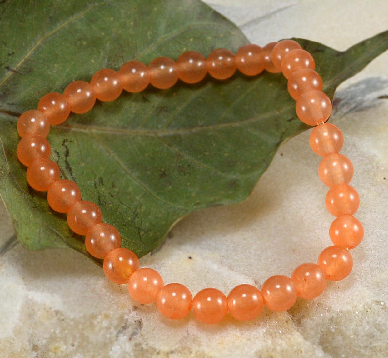 Handmade Jewelry Manufacturer men's Bracelet 6mm Light Orange Quartz, Energy, Yoga, Jaipur Rajasthan India Stretch Bracelet