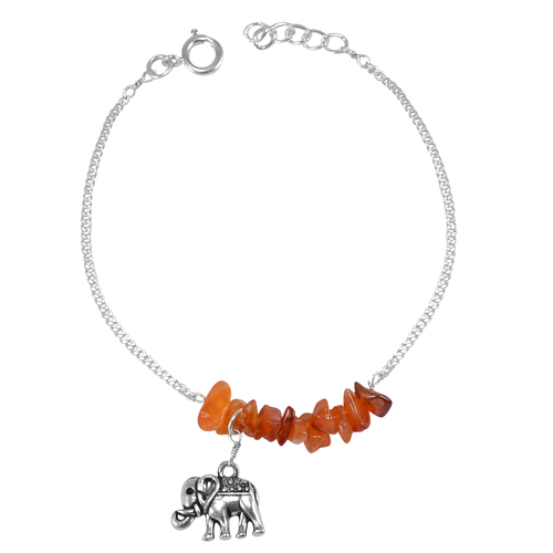 Carnelian Rough Handmade Jewelry Manufacturer 925 Sterling Silver Curb-Chain Elephant Jaipur Rajasthan India Charm Bracelet