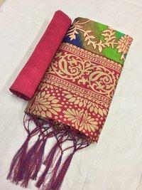 Heavy Embroidery Mysore Silk Saree, Wedding Wear
