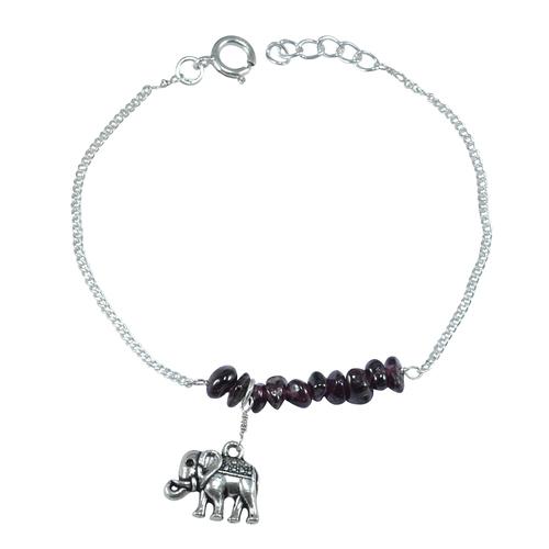 Handmade Jewelry Manufacturer 925 Sterling Silver- Rough Garnet- Curb Chain- Spring-ring hook Bracelet Jaipur Rajasthan India
