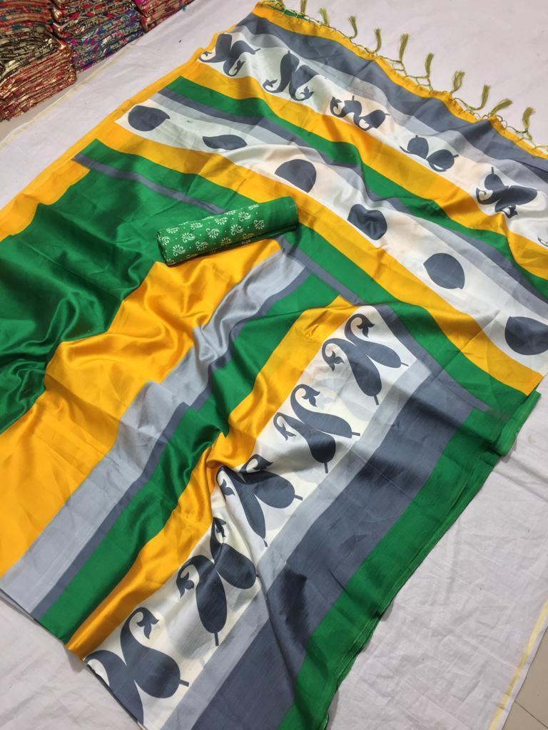 Heavy Printed Mysore Silk Saree, Casual Wear
