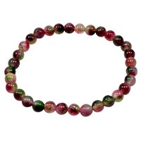 Multicolor 6mm Tourmaline, Handmade Jewelry Manufacturer Protection, Stretchable Beaded Bracelet Jaipur Rajasthan India