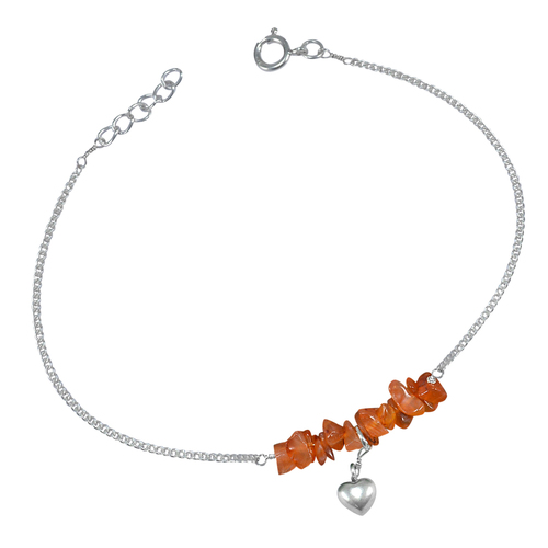 Curb-Chain, Handmade Jewelry Manufacturer Spring-ring Hook, 925 Silver, Rough Carnelian Single Anklet Jaipur Rajasthan India