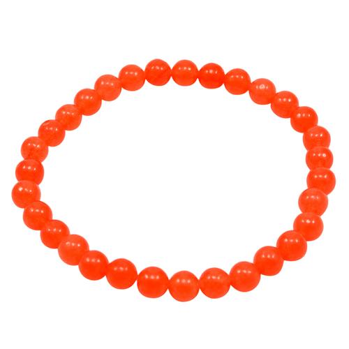 Jaipur Rajasthan India Orange Quartz Bracelet, Orange 6mm Round Beaded Stretchable Bracelet Handmade Jewelry Manufacturer