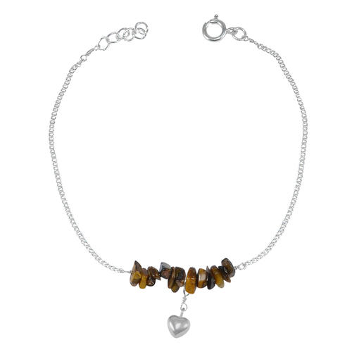 Rough Tiger Eye Handmade Jewelry Manufacturer Spring-ring hook Sterling Silver Heart Charm Single Anklet Jaipur Rajasthan India