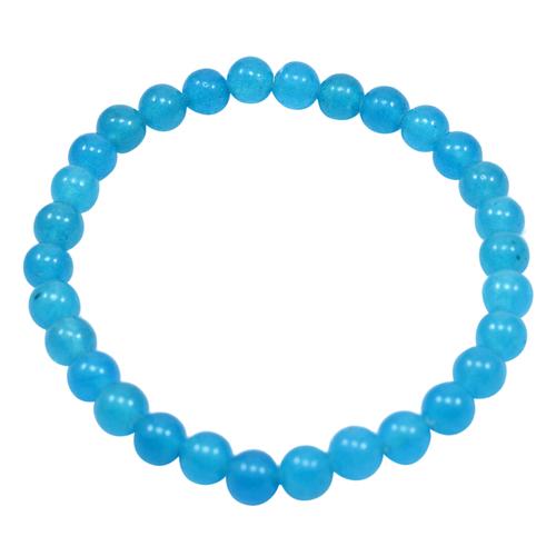 6mm Blue Quartz Handmade Jewelry Manufacturer Bracelet- Jaipur Rajasthan India Beaded Stretchable Bracelet