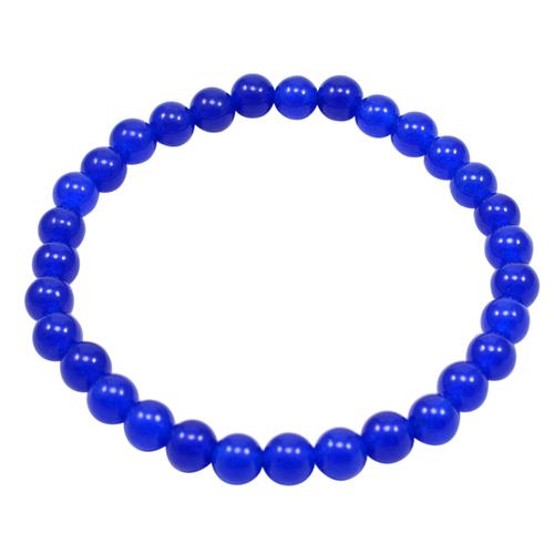 Dark Blue Quartz, 6mm Beaded Handmade Jewelry Manufacturer Stretchable Healing Bracelet Jaipur Rajasthan India