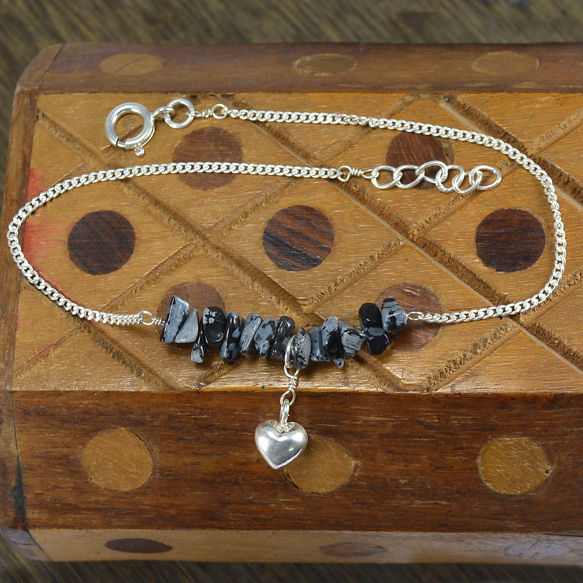Uncut Snowflake Obsidian- Handmade Jewelry Manufacturer 925 Sterling Silver- Curb-Chain- Jaipur Rajasthan India Single Anklet