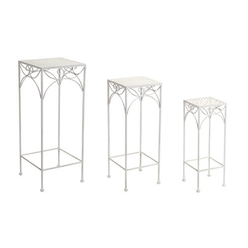 White Plant Stands Set of Three
