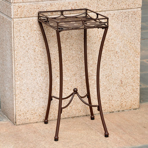 Iron Nailhead  Brown Square Plant Stand