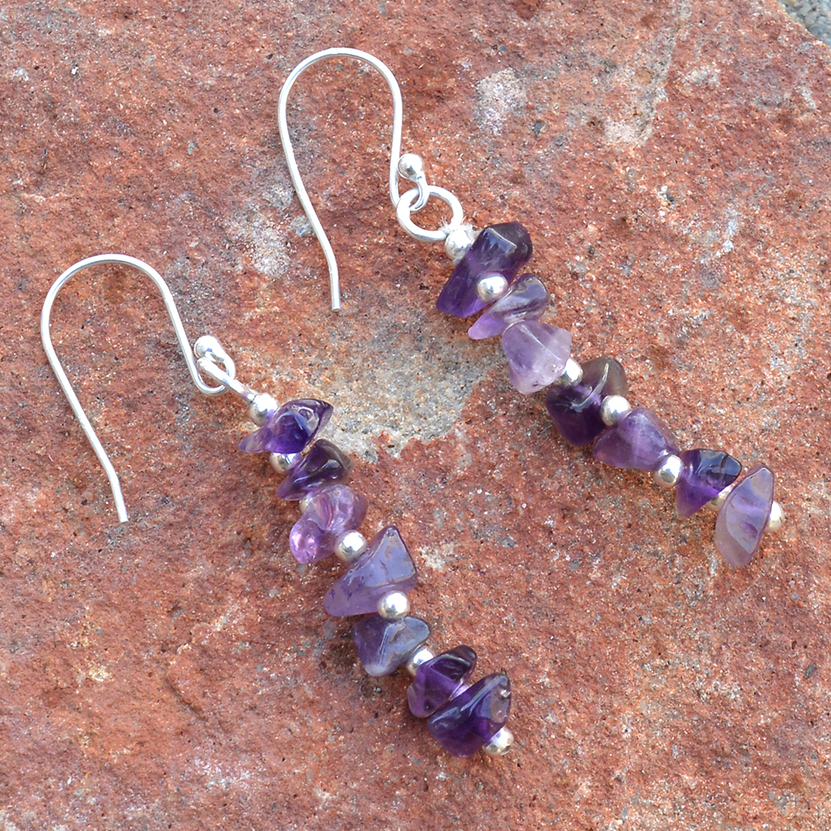 February Birthstone Handmade Jewelry Manufacturer Amethyst Uncut 925 Sterling Silver Jaipur Rajasthan India Dangle Earring