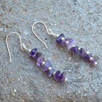 February Birthstone Handmade Jewelry Manufacturer Amethyst Uncut 925 Sterling Silver Jaipur Rajasthan India Dangle Earring