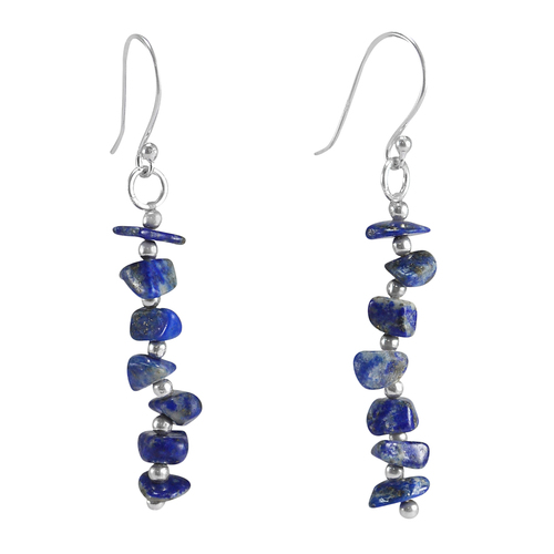 Handmade Jewelry Manufacturer 925 Sterling Silver Single Strand Lapis Lazuli Chips Dangle Earring Jaipur Rajasthan India