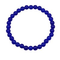 Handmade Jewelry Manufacturer 6mm Round Beaded, Blue Quartz, Jaipur Rajasthan India Stretch Bracelet