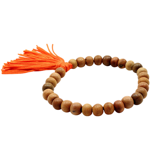 Handmade Manufacturer Beaded Brown Bohemian, Stacking, With Orange Cord Tassel Stretchable Bracelet Jaipur Rajasthan India