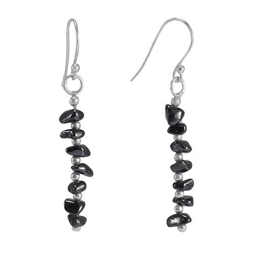 Handmade Jewelry Manufacturer Black Hematite Uncut Rough 925 Sterling Silver Wire-Wrapped Simple Earring Jaipur Rajasthan India