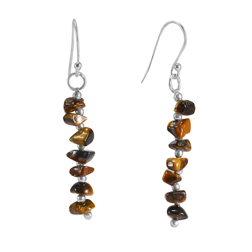 925 Sterling Silver Handmade Jewelry Manufacturer Brown Tiger Eye Chips Jaipur Rajasthan India Single Strand Dangle Earring
