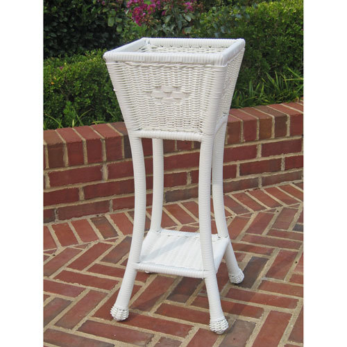 Resin Square Two-Tier Plant Stand, White