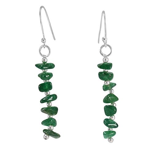 Uncut Green Aventurine Handmade Jewelry Manufacturer 925 Sterling Silver Beautiful Long Jaipur Rajasthan India Earring
