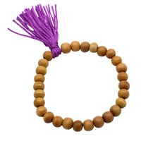 8mm Brown Wood, Handmade Jewelry Manufacturer Purple Cord Tassel, Jaipur Rajasthan India Stretchable Bracelet