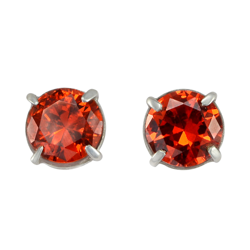 Round Shape 7 mm Red Cubic Zirconia, Handmade Manufacturer Prong Setting, 925 Silver, Stud Earring Jaipur Rajasthan India