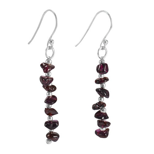 925 Sterling Silver Handmade Jewelry Manufacturer Hook And Round Ball, Rough Garnet, Chips Earring Jaipur Rajasthan India