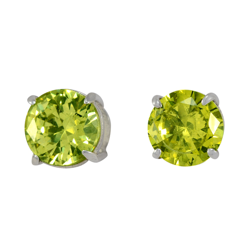 Handmade Jewelry Manufacturer Prong Setting- 925 Silver- Jaipur Rajasthan India 9 mm Green Cubic Zirconia- Push Back Earring