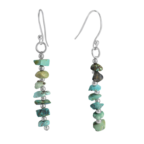 Uncut Turquoise 925 Sterling Silver Handmade Jewelry Manufacturer Wire-Wrapped Dangle Jaipur Rajasthan India Chips Earring