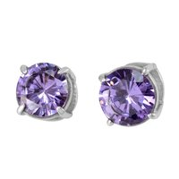 Handmade Manufacturer Solitaire Round 9 mm Lavender Cubic Zirconia, 925 Silver, Jaipur Rajasthan India Prong Setting Earring