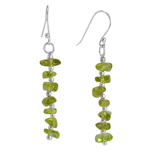 925 Sterling Silver Handmade Jewelry Manufacturer August Birthstone Uncut Peridot Long Jaipur Rajasthan India Chips Earring