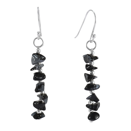 Snowflake Obsidian Handmade Jewelry Manufacturer Uncut Chips 925 Sterling Silver Dangle Jaipur Rajasthan India Long Earring
